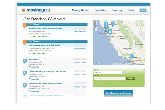 Screen Shot of Moving Companies Page