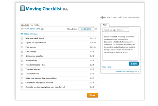Screen Shot of Moving Checklist Page